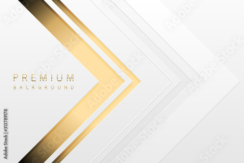 Obraz Vector luxury tech background. White paper material layer with gold stripe. Arrow golden shape premium light wallpaper - fototapety do salonu