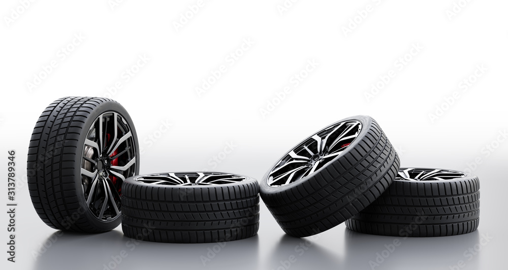 Fototapeta Set of wheels with modern alu rims on white background
