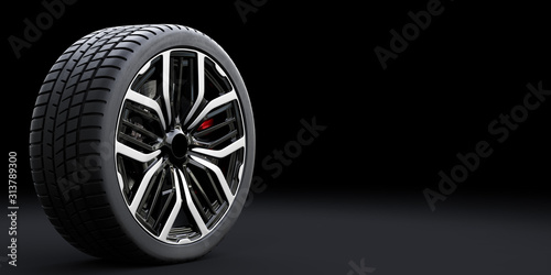 obraz PCV Wheel with modern alu rim on black background