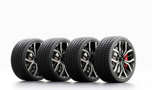 Set Of Wheels With Modern Alu Rims On White Background