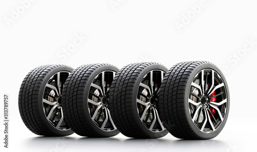 Fototapeta Set of wheels with modern alu rims on white background obraz