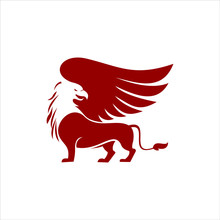 Red Griffin Logo Simple Vector Winged Animal. Ancient Heraldic Clip Art Design Template