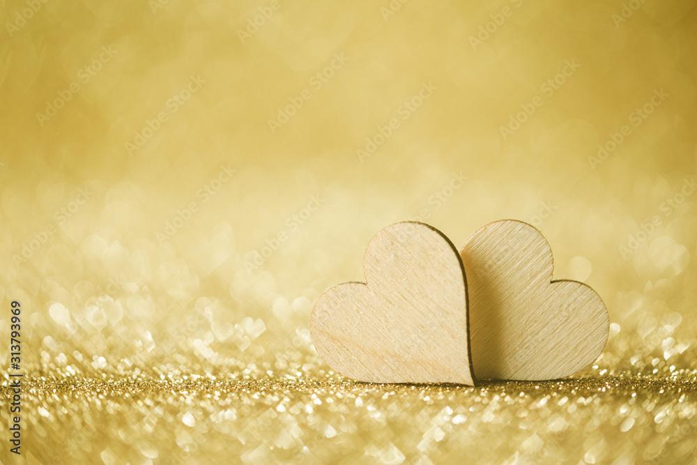 Fototapeta Two hearts on bokeh background