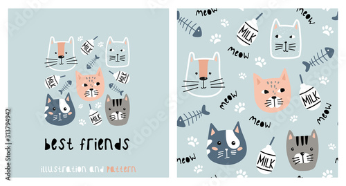Illustration and seamless pattern with cute cat.