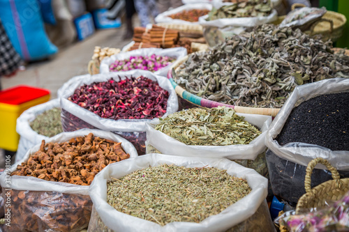 Spices and herbs from a moroccan market in the Medina of Fes