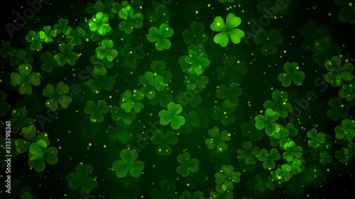 Fotografiet Beautiful Green Leaves Of Three And Four Leaf Clover Bokeh Light With Glitter Du