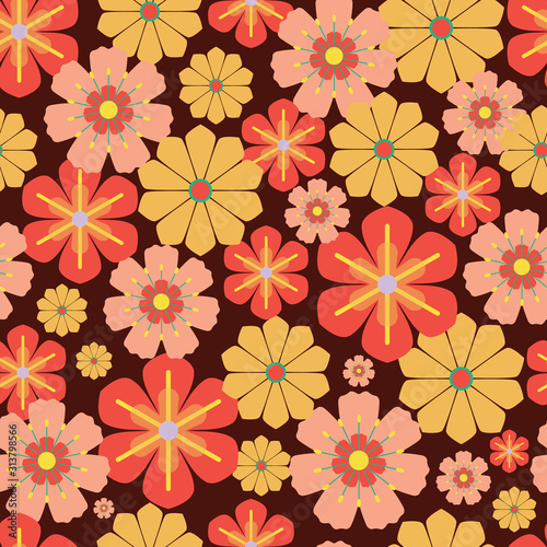 Vector 60s, 70s retro vintage flowers seamless Canvas Print