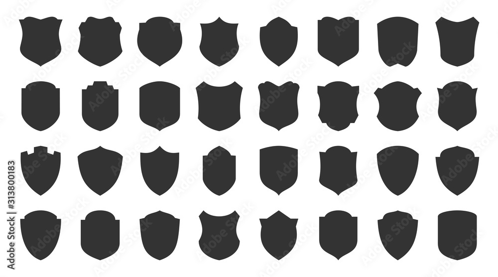 Fototapeta Shield safety defense protect vector glyph icons