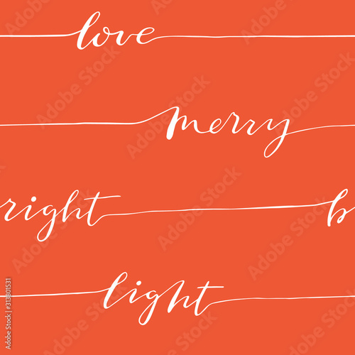 Fototapeta Abstract seamless calligraphy pattern with words love, merry, light, bright