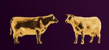 Gold Cow. Shiny Metallic Set O...