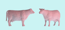 Pastel Cow. Set Of Pink Cows On Pastel Blue Background. Low Poly Vector 3D Rendering