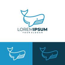 Sperm Whale Logo Vector Illustration In Modern Line Art Style