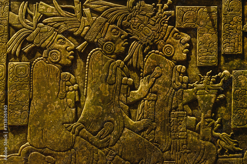 Fototapeta Ancient Mayan drawings on the stone wall