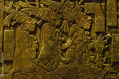 Photo Ancient Mayan drawings on the stone wall