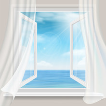 View Of The Sea Horizon From A Room With A Open Window And White Curtains. Background For Vacation And Travel Card Design.