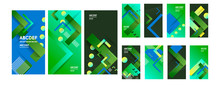 Green Summer Banners Backgrounds Set Colors. Beautiful Summer Time Cards, Posters, Flyers, Party Invitations