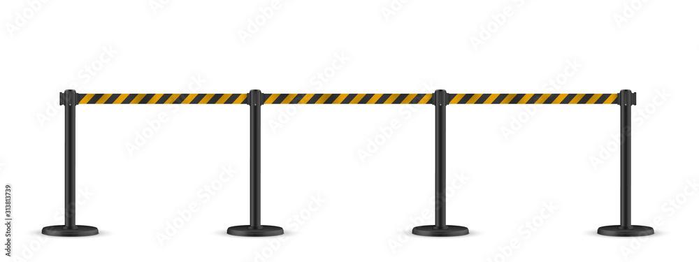 Fototapeta Retractable belt stanchion. Portable ribbon barrier. Striped black-yellow fencing tape.