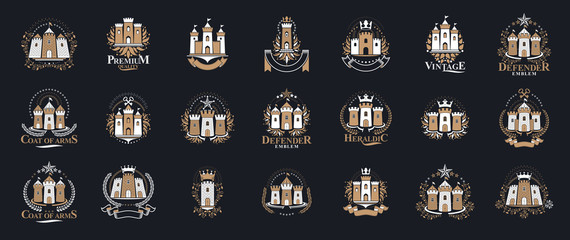 Castles logos big vector set, vintage heraldic fortresses emblems collection, classic style heraldry design elements, ancient forts and citadels.
