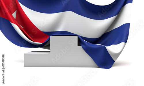 Photo Cuba flag draped over a competition winners podium. 3D Render