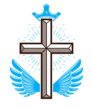 Winged Christian Cross Vector Religion Logo Or Tattoo.