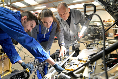 Instructor with trainees working on car engine Wallpaper Mural