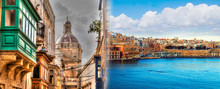 Street Balconies And Ancient Architecture In Malta