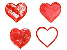 Set Of Watercolor Red Hearts. ...