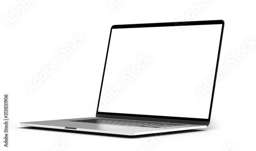 Photo Laptop mockup template blank screen isolated all in focus