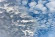 Leinwandbild Motiv Close-up of a blue sky with clouds - Full frame background