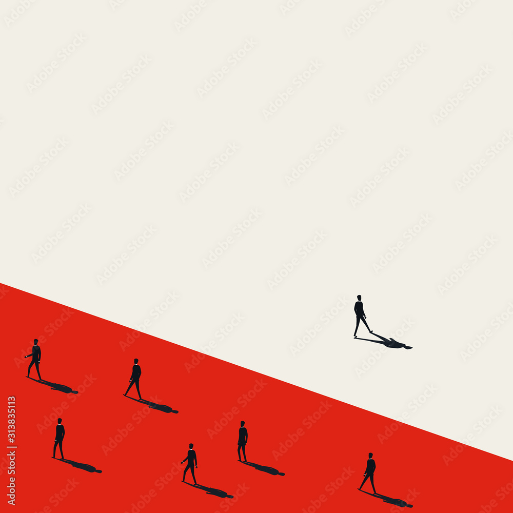 Fototapeta Business stand out of the crowd vector concept with businessman walking away from others.