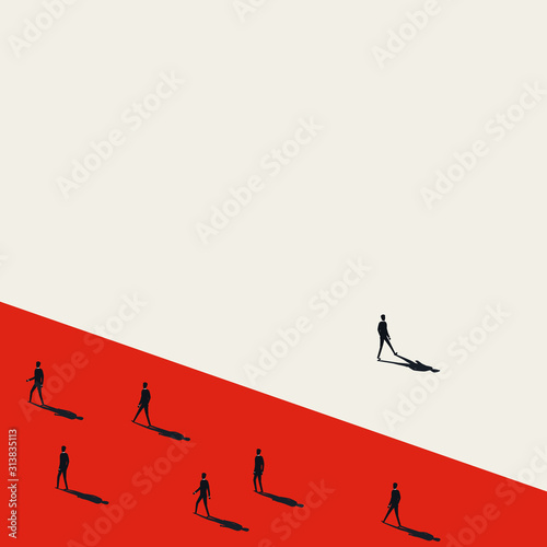 Fototapeta Business stand out of the crowd vector concept with businessman walking away from others. obraz