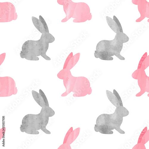 Carta da parati Cute watercolor bunny pattern