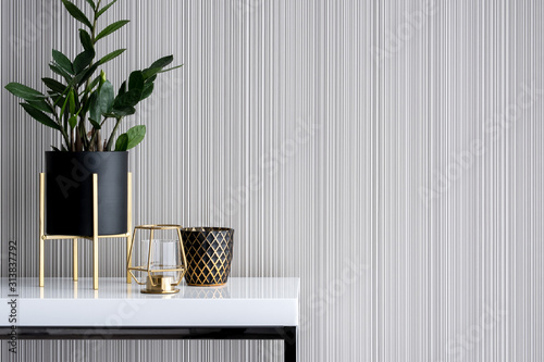 Fototapeta Stylish decoration on white console table obraz