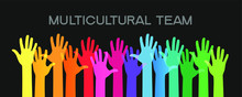 Cultural Diversity Illustration Card. Diverse Human Hands United. Social Freedom.