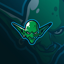 Goblin Mascot Logo Design Vector With Modern Illustration Concept Style For Badge, Emblem And Tshirt Printing. Goblin Head Illustration For Sport Team.