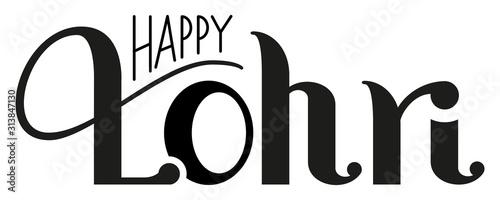 Cuadros en Lienzo Happy Lohri lettering text indian holiday Punjabi festival for greeting card