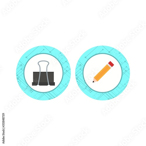 Set of 2 office Icons on White Background Vector Isolated Elements...