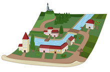 Cartoon Map Of A Village