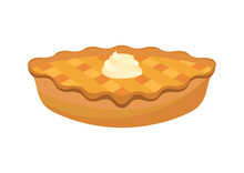 Classic American Pie Vector. Pie Isolated On A White Background. Cake With Whipped Cream Vector. Apple Pie Icon Vector. Sweet Pie Clip Art