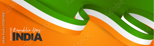 Obraz India Republic Day banner or header. National Indian holiday design concept with white, orange, and green flag ribbon. Vector illustration. - fototapety do salonu