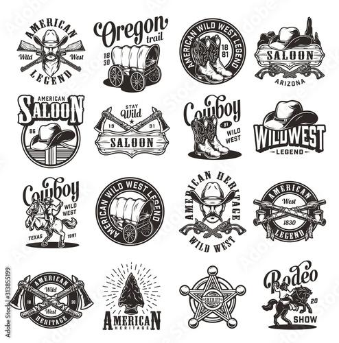 Vintage wild west emblems Canvas Print