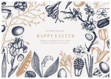 Spring Vintage Design. Easter Background With Blooming Flowers, Bird Feathers, Eggs And Floral Decorations. Spring Colored Vector Illustration. Easter Card, Invitation Or Banner Template.