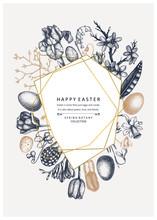 Happy Easter Day Design. Trendy Collage For Spring Banner Design, Greeting Card Or Invitation. Hand Drawn Spring Illustrations. Vintage Easter Template With Golden Foil Decoration. Floral Art.