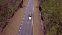 Aerial Following View Of Car D...