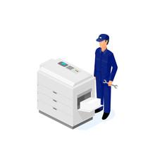 Photocopier Repairman Technician - Vector Icon Illustration
