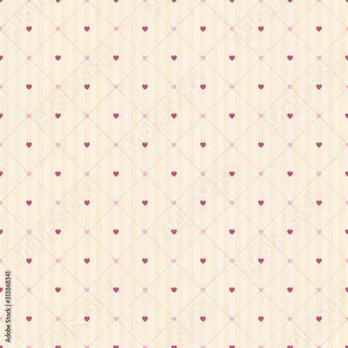 Seamless lattice pattern of small pink hearts on a beige striped background Fototapet