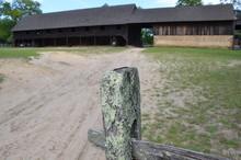 Green Lichen On Wood Fence Post On Farm