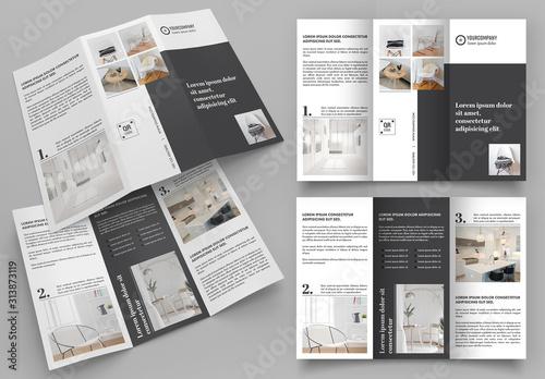 Fototapeta Black and Gray Trifold Brochure Layout obraz