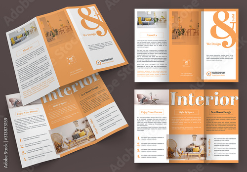Fototapeta Orange and White Trifold Brochure Layout obraz