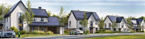 Road and beautiful houses with solar panels on the roof. Charging stations and electric cars - 313878382